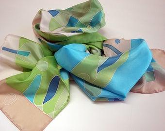 Hand Painted Silk Scarf.Woman Silk Scarf.Hand Painted Silk Shawl.Wedding Gift. 59x18in.Giveaways.Ideas for her.Silk shawl (150x45 cm)