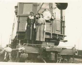 vintage photo 1930 Women on Train Engine Harlow Town