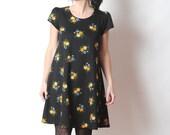 Black floral jersey dress, Short-sleeved dress in vintage jersey, MALAM