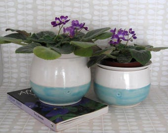 African Violet Pot - Self Watering Planter - Hand Thrown Stoneware Pottery
