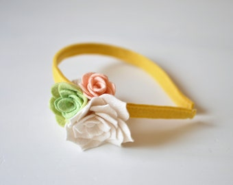 Felt Flower Headband - Yellow White and Pink Headband - Girl's Headband - Accessories for Kids - Spring Outfit Girl