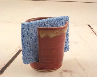 Sponge Holder - Stoneware Cup Holder - Ceramic Sponge Drying Bowl - Kitchen Helper - Ready to Ship - Deep Brick Red and Caramel Drip H484