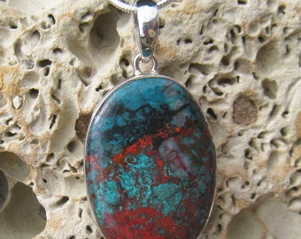 Sonora Sunset Pendant with Sterling Silver Bail also called Sonora Sunrise. The stone is Cuprite and Chrysocolla