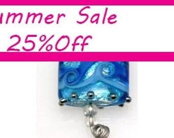 Blue pillow lamowork beads, lamowork glass beads, Handmade Lampwork Beads,  Bead Set, SRA, Statement, Made to Oder, Jewelry Supply