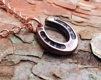 Copper Horseshoe Necklace, Small Copper Horseshoe, Copper Cable Chain, Horse Lover Gift, Equestrian Gift, Gift for Her