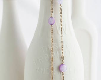 """Orchid Shell and Violet Opal Swarovski Crystal Gold Filigree Long Necklace 48"""""""