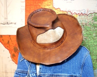 Leather Western Hat Cowboy Mexican Hat Hair on insert Vintage Collectible costume boho hippie