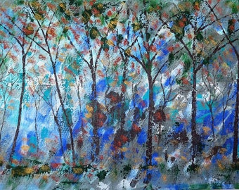 Original painting impressionist - Abstract Floral - Blue Lavender and  Wild Blossoms