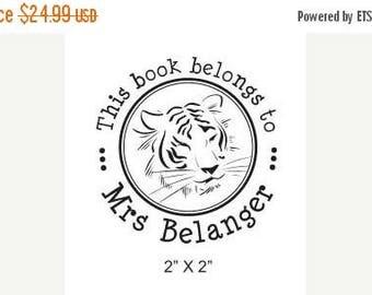 Super Summer Sale Tiger Face Personalized Ex Libris Rubber Stamp H02