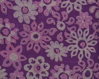 Batik fabric VINTAGE purple Hippie flower Batik cotton Sarong fabric
