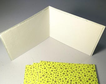 Set of 4 blank greeting cards - Handsewn Japanese Chiyogami Covered Card | Note Cards Deckled Edge & Envelopes - chartreuse and gold dots