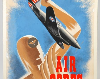 1941 Painting Army Air Corps Force WWII Original ILLUSTRATION Military Poster Aviation P-40 MOMA Famous New York Modernism Show Art Deco Wpa