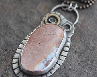 Christmas in July - Druzy Agate Sterling Silver White Brass Necklace