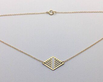 Geometric Laser Cut Diamond Necklace White and Gold Delicate Minimal Jewelry
