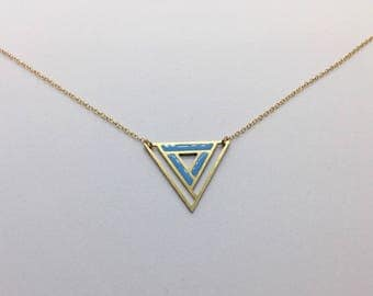 Geometric Laser Cut Triangle Necklace Blue and Gold Delicate Minimal Jewelry