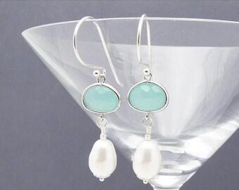 pearl earrings, aqua earrings,  sea foam earrings, beach wedding jewelry, aqua bridesmaid earrings, wedding jewelry, gift for her,