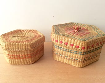 Vintage Sweetgrass Baskets. Woven Basket Set. Nesting Baskets with Lids. Natural Grass Baskets with Colorful Bands. Storage Baskets.