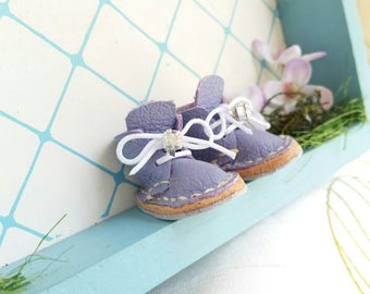 Lace Up Shoes Mini Light Purple Lilac Leather With White Laces Rhinestones Azone Pure Neemo M Size Neo Blythe Doll Boots