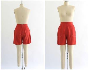 vintage 1950s Blue Bell red high waist shorts   50s shorts   vtg high waisted shorts   medium