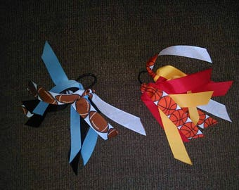 Extra Ribbon on Ponytail for Cowbells/Sports/Cheer/Spirit/Sports Mom/Cowbell