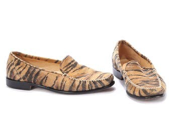 Vintage Loafers 90s Animal Print Beige Black Suede Leather Flats Driver Shoes High European Quality Us women 6.5, Eur 36.5 , Uk 4