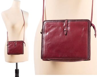 DISTRESSED Leather Satchel Bag 70s Small Boho Bag Burgundy Red Shoulder Crossbody Woman Everyday Purse Handbag Pouch Festival Bag Retro