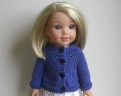 14.5 Inch Doll Clothes Knit Sweater with Long Sleeves Handmade to fit the Wellie Wishers and other similar dolls - Blue Iris Ready to Ship