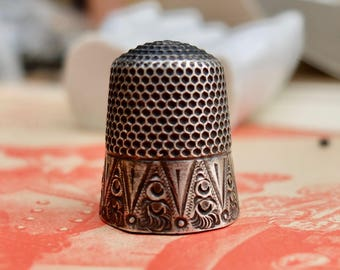 Antique Thimble Sterling Silver Size 12