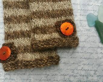 Brown and Beige Stripey Handknit Fingerless Gloves.  Pure Baby Alpaca.