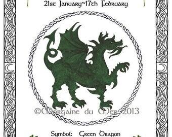 Celtic Zodiac Lunar Astrology Sign Print Druid Tree Lore Dec-May Birthday Stag Green Dragon Sea Horse Hawk Sea Serpent Pagan Art Pen and Ink