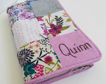 Baby Girl Blanket Name and Date Hand Embroidered Custom Patchwork Quilt ~ Pink Gray Fuchsia Hot Pink Mustard Blue ~ Modern Flowers Birds