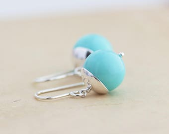 Robins Egg Blue Earrings - Sterling Silver Earrings - Dangle Earrings - Robins Egg Blue Jewelry - Silver Earrings - Simple Earrings - Round