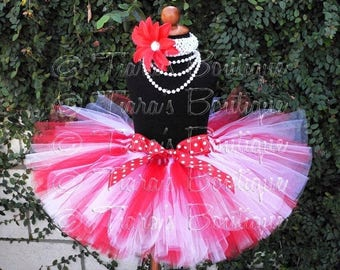 SUMMER SALE 20% OFF Girls Christmas Tutu Set, Red and White