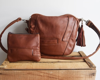 FURROW bag // brown recycled leather with matching leather pouch