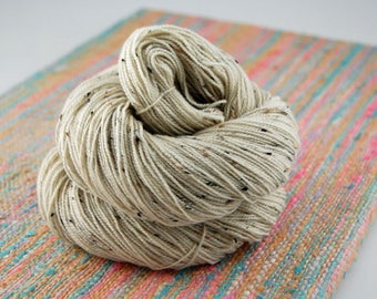 "Bits and Bobs Tweed ""NAKED"" or undyed- 438 yards 100 grams- Superwash Blueface wool and Nylon sock yarn"