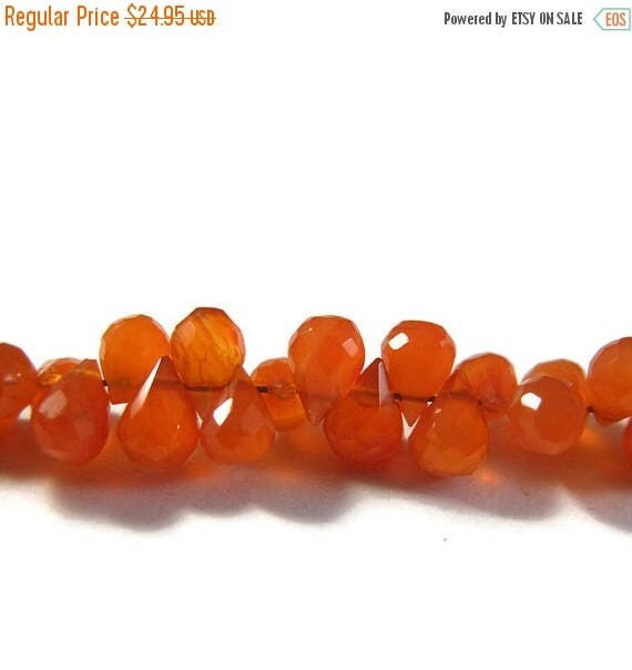 Summer SALEabration - Little Carnelian Briolette Beads, 4 Inch Strand of Bright Orange Natural Gemstones for Making Jewelry 6mm x 4mm, Tiny