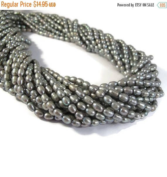Summer SALEabration - Luminous Gray Pearls, Freshwater Rice Pearl Beads, Silver Green Pearls, 16 Inch Strand, 5mm x 3.5mm, Jewelry Supplies,