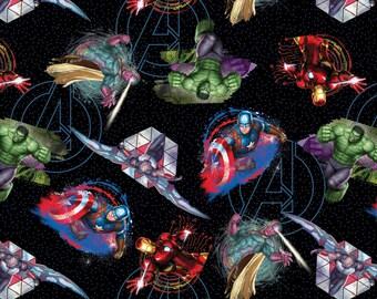 """Marvel, """"Avengers"""" Badges on Black,  Hulk, Captain American, Thor,  1 yard"""