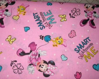 Positively Minnie on Pink, Smart and Positively ME - Minnie mouse fabric, 1 Yard