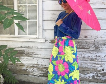 Vintage 60s mod dress/robe,maxi,floral,quilted,unique,designer,Fifth Avenue,blue,velvet,pink,green,colorful,long skirt,fancy