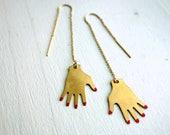 Painted Nail Hand Ear Threads Gold Fill Ear Thread Dangles