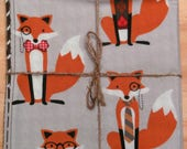 Gray Hipster Foxes Houndstooth Pair of Reversible Cloth Lunch Napkins
