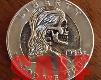 Franklin Half Dollar Skull- Hobo Nickel Skull carving skull coin memento mori carved skull carved coin engraved coin charm pendant