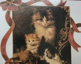 Vintage Dimensions Iron-On, Dimensions 80007, Her Majesty's Kittens, Cat Iron On Transfer, Unopened Kit