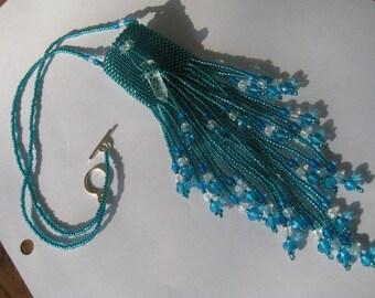 Medicine Bag Necklace,Amulet Bag hand beaded in Blue