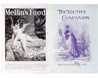 "Antique Mellin's Food Cupid AD & Christmas 16 1/4"" x 11 1/4"" Victorian Advertising"