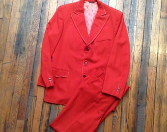 REX ALLEN VINTAGE Red Suit Western Wear fron Marty Stuart Collection Jacket and Pants white topstitching lined jacket wool gabardine