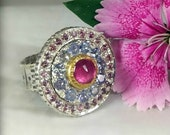 RESERVED FOR THERESA, Ruby and Tanzanite Statement Ring, 22 kt yellow  gold , silver  and Gemstone ring, Tanzanite and sapphire  Halo ring