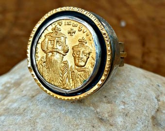 Ancient Gold Coin Ring,  Authentic Byzantine ancient Gold coin , Heavy silver, gold  and coin ring, Unisex Jewelry, and Ancient coin Jewelry