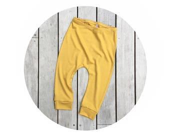 baby yellow wool longies, kids woollen leggings, jersey joggers, toddler sweatpants, boy girl winter pants, 12m
